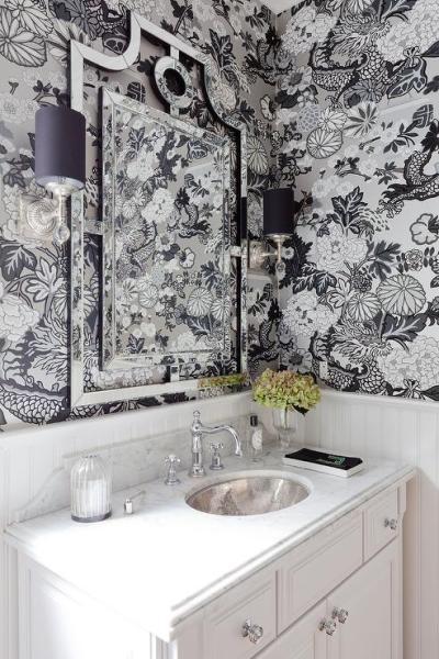 Chiang Mai Dragon Aquamarine Wallpaper - Eclectic - Bathroom