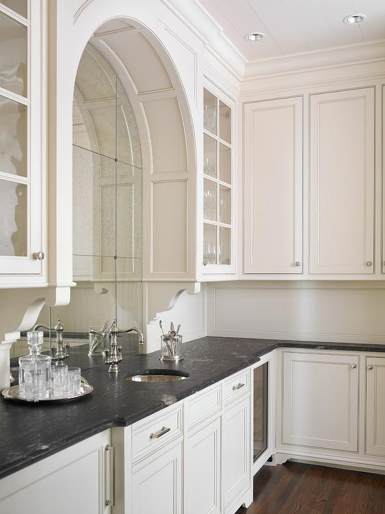 Black Marble Wallpaper Glam Wet Bar With Arched Antiqued Mirrored Backsplash