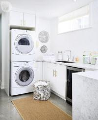 White Laundry Room Cabinets with Brushed Brass Octagon ...