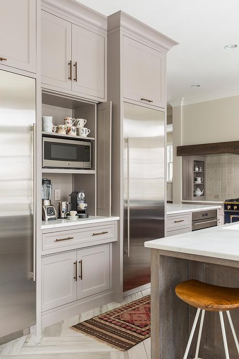 Gray Shaker Cabinet Kitchen Kitchen Coffee Station With Fold In Doors - Contemporary