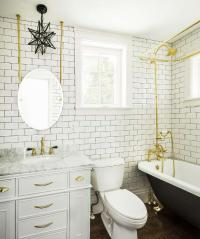 White and Gold Bathroom with Black Clawfoot Tub ...