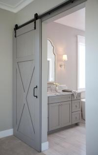 En Suite Bathroom with Barn Door on Rails - Transitional ...