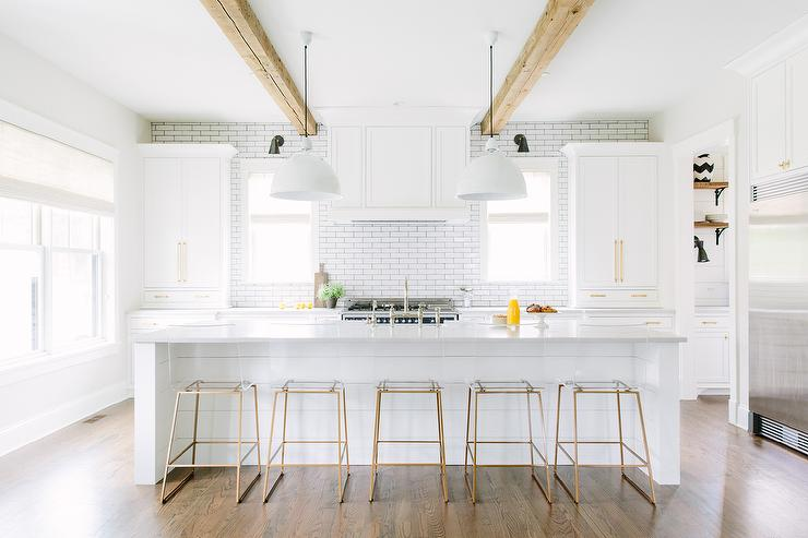 Brass Bar Stools White Shiplap Kitchen Island With Brass And Lucite Counter