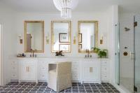 White and Gold Master Bathroom with Gray Cement Tiles ...