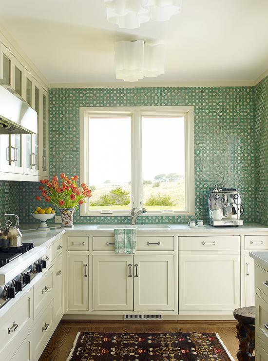 white green kitchen features white shaker cabinets paired kitchen backsplash green couchable