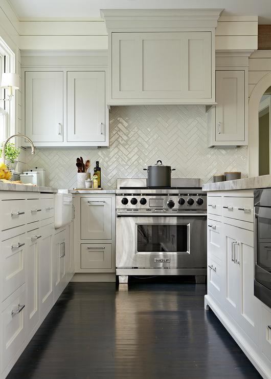 gray transitional kitchen boasts dark stained oak wood floors dark gray kitchen designed talented atlanta based kitchen