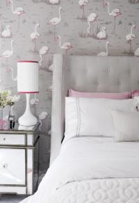 Pink and Gray Teen Girl Bedroom with Pink Flamingos ...