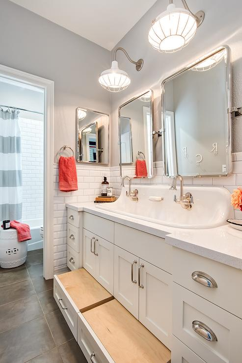 Over The Sink Lighting Cottage Kids Bathroom With Built In Pull Out Step Stools