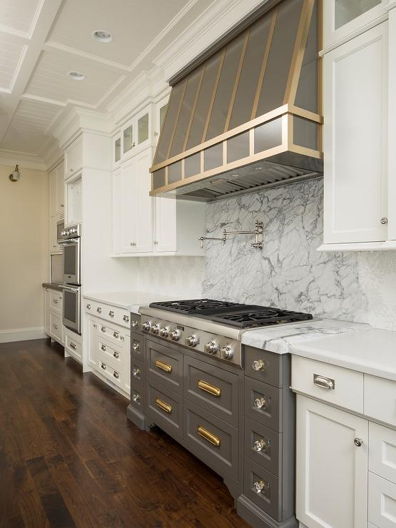 Transitional Kitchen Design Gray Cooktop Drawers With Shiny Brass Vintage Pulls