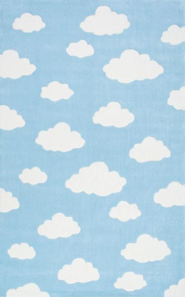 Pale Pink Wallpaper For Girl Nursery Blue And White Clouds Rug