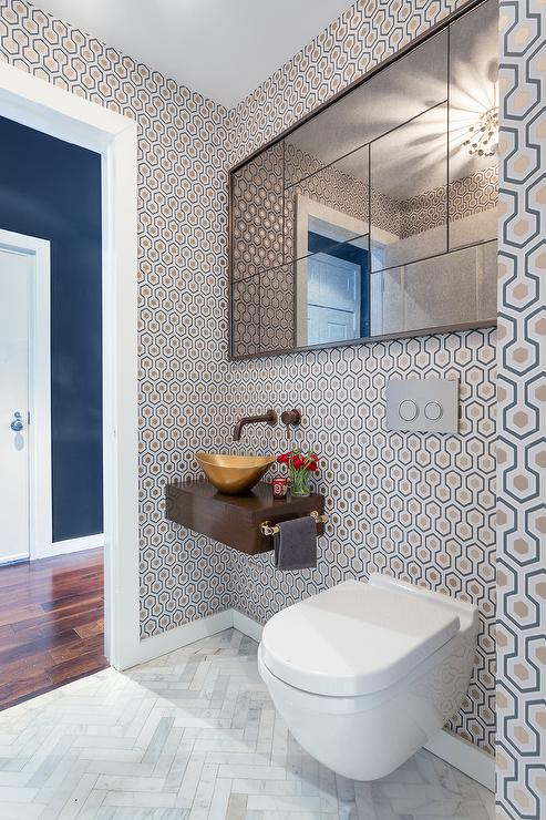 Black And White Marble Wallpaper Contemporary Powder Room With Floating Sink Vanity And