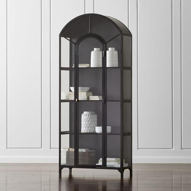 Bathroom Cabinet Corner Wooden Black Frame Glass Display Cabinet