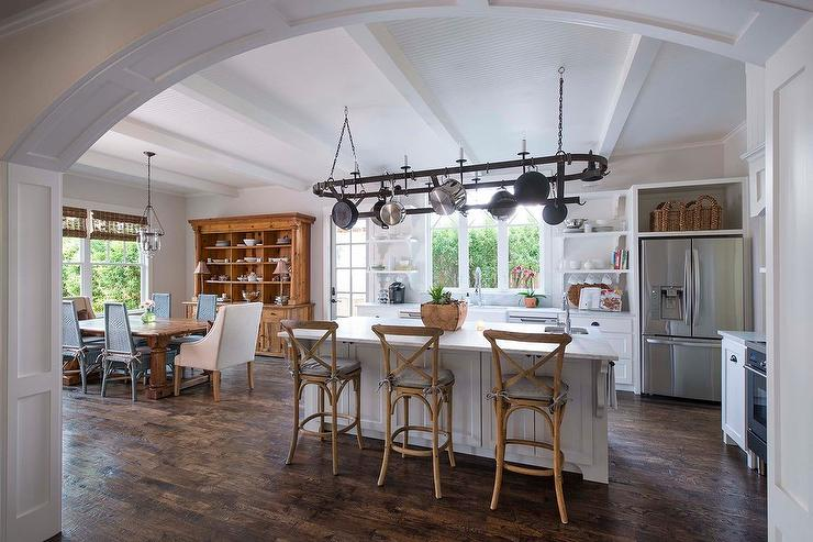Stools For Island In Kitchen Oval Pot Rack Over Center Island - Transitional - Kitchen