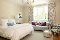 Teenage Girl Bedroom with Gray Sofa as Window Seat ...
