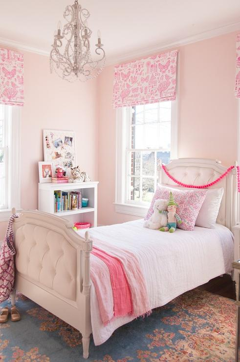 Pale Pink Wallpaper For Girl Nursery Pink Bedroom With Pink Butterflies Roman Shade