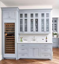 Blue Gray Butler Pantry Cabinets with Light Gay Arabesque ...