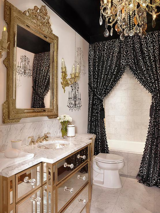 Black Beadboard Wallpaper Baroque Mirror French Entrance Foyer Melanie Turner