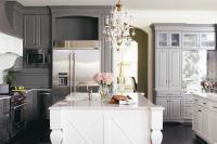 Dark Gray Kitchen Cabinets with White Island ...