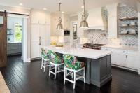 Gray Kitchen Island with Curved White Quartz Countertop ...