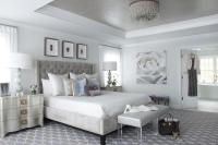 Gray and Silver Bedroom with Gray Tray Ceiling ...