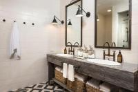 Country Style Bathroom with Reclaimed Wood Dual Vanity ...
