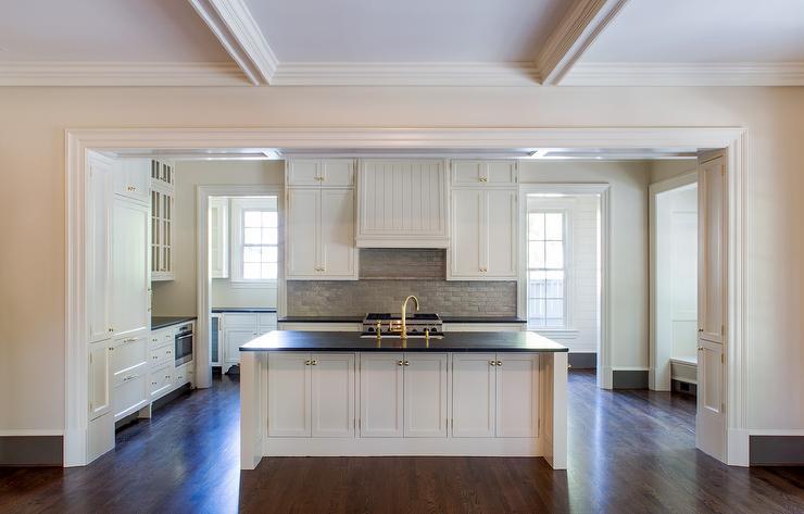 feel home appointed white black kitchen boasting elegant brick backsplash kitchen presented soft colors