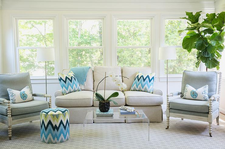 Ivory and Blue LIving Room with Ivory Spindle Chairs and Turquoise - blue living room chairs