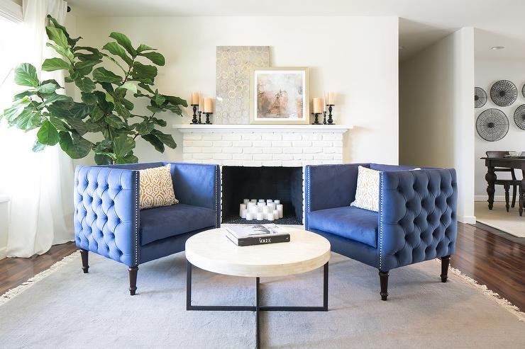 Cream Fretwork Chairs with Blue Velvet Ottoman - Transitional - blue living room chairs