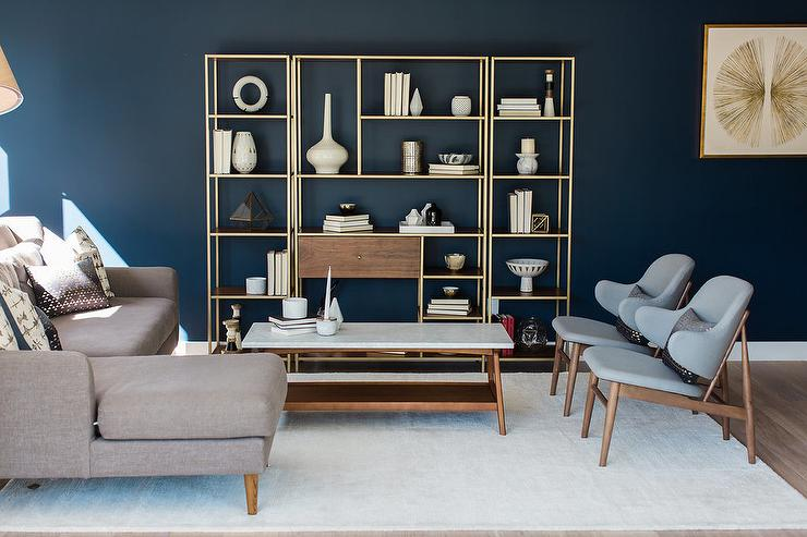 Blue lIving Room with Wood and Brass Shelving Unit - Transitional - living room shelf unit