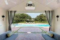 Pool Cabana with Gray Grommet Curtains - Transitional ...