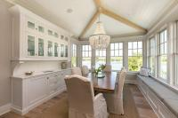 White and Beige Dining Room with China Cabinet - Country ...