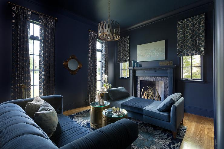 Dark Blue Living Room with Blue Linen Chaise Lounge - Contemporary - living room chaise lounge