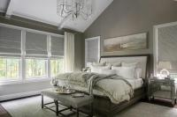 Taupe Bedroom with Sleigh Bed - Transitional - Bedroom