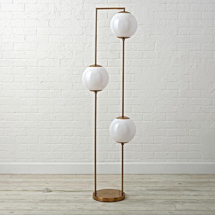 Black Marble Wallpaper 3 Globe Arc Floor Lamp In Brass