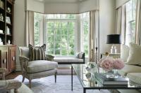 Living Room Bay Window with Black Chaise Lounge Bench ...