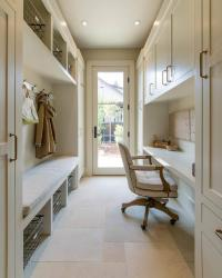 Long Galley Style Mudroom and Office Combo - Transitional ...