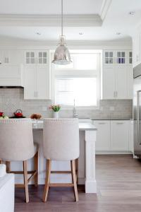 White Cabinets with Gray Quartz Counters - Transitional ...