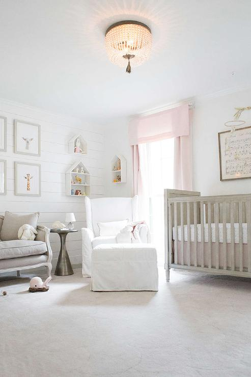 Pale Pink Wallpaper For Girl Nursery Gray And Pink Nursery Color Scheme Transitional