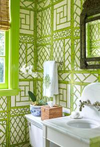 Trellis Wallpaper - French - bathroom - Amanda Carol Interiors