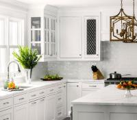 White Kitchen with White Glazed Subway Backsplash Tiles ...