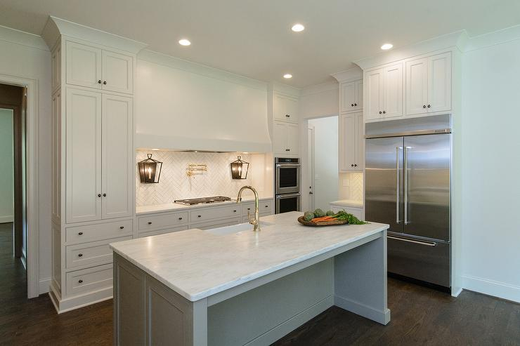 Pictures Of Kitchens With Gray Cabinets White Kitchen With Gray Island And Farmhouse Sink