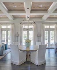 Coffered Ceiling with Pecky Cypress Trim - Cottage ...