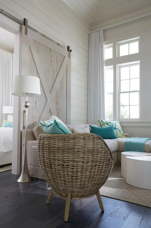 Beach Style Living Room with Wicker Pod Chairs
