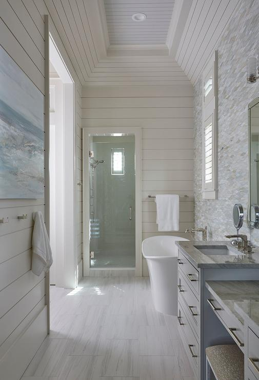 Tray Ceiling Cottage Bathroom With Horizontal Shiplap Walls - Cottage