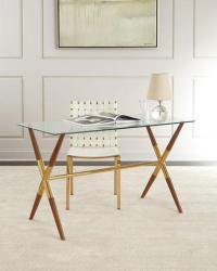 Industrial Style Iron Base Glass Top Desk