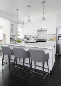 White and Gold Island Light Pendants - Transitional - Kitchen