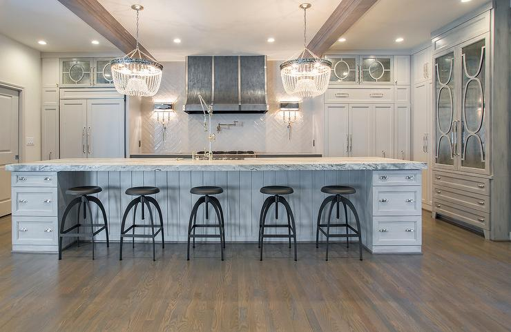 Shiplap Kitchen Island Gray Center Island With Vapor Counter Stools