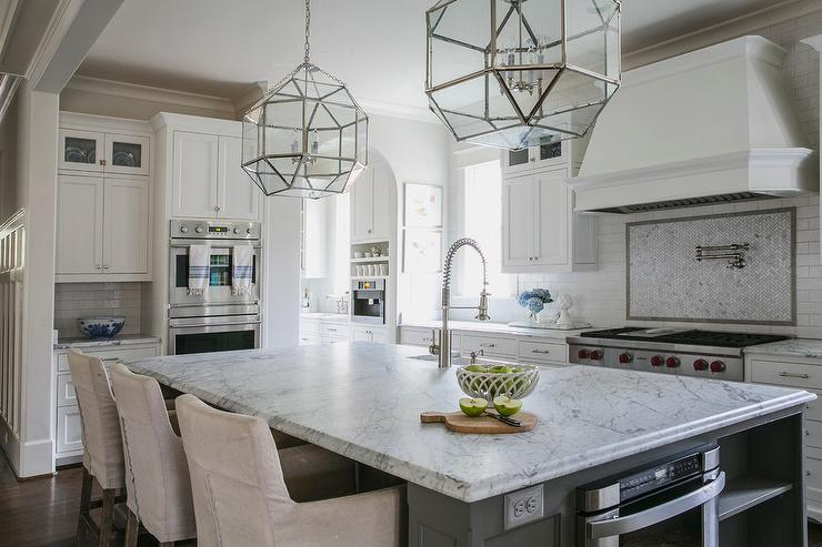 Island Tables For Kitchen With Stools Mosaic Marble Herringbone Cooktop Tiles With Gray Border
