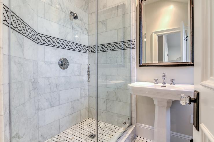 Black And White Chain Accent Border Shower Tiles