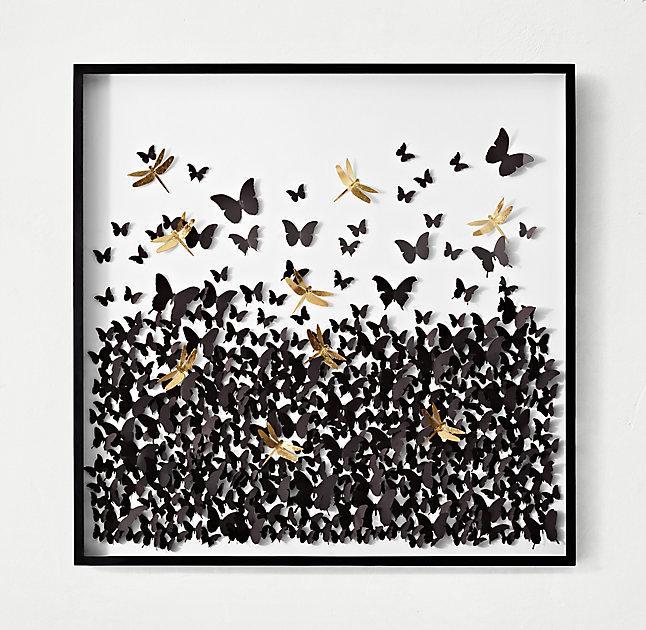 Black Crown Wallpaper Gold Feather Butterflies Set